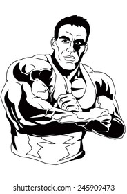 bodybuilder with clasped hands,illustration,black and white,drawing,outline