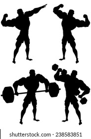 Bodybuilder in different poses silhouette isolated