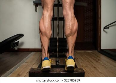 Bodybuilder Doing Heavy Weight Exercise For Legs Calves