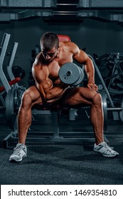 Bodybuilder Exercise With Weights at the Gym