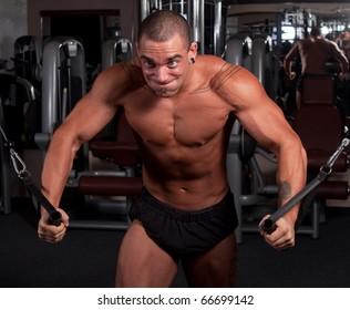 Bodybuilder exercising in a gym