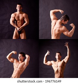 bodybuilder flexing his muscles over black background