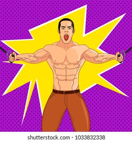 Bodybuilder in the gym. Athlete pulls weight. Pop art raster illustration. The imitation of comic style.