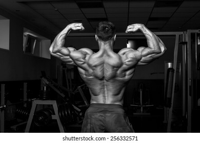 Bodybuilder in the gym black and white