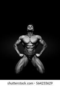 bodybuilder on black background