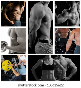 Bodybuilder posing on the black background. Collage