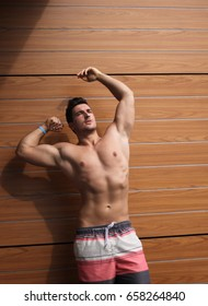 Bodybuilder Posing Outside In Different Poses Demonstrating His Muscles - Male Showing Muscles - Beautiful Muscular Caucasian Body Athlete