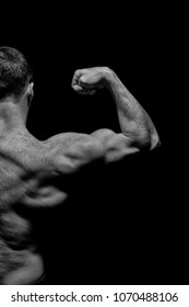 Bodybuilder show biceps and triceps. Man athlete with half torso, back view. Sportsman flex arm muscles. Workout and training activity in gym. Sport power and bodycare concept, black and white.