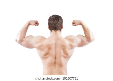 bodybuilder strong athletic muscle man, sport guy showing his male muscles, standing back isolated over white background
