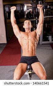 Bodybuilder training in a gym