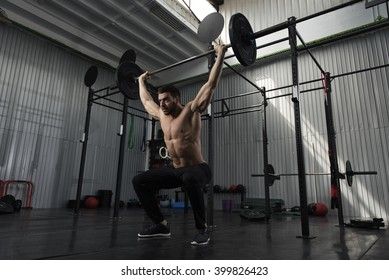 Bodybuilder working out in the gym