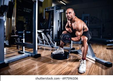 Bodybuilder workout with dumbbells