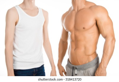 Bodybuilding coach topic: beautiful strong bodybuilder coach stands next to a thin man isolated on a white background in the studio, before and after training in the gym