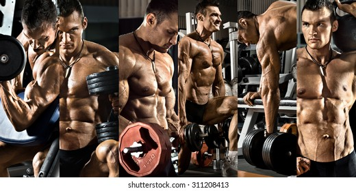 bodybuilding,  execute exercise press with weight, in gym, collage of photo