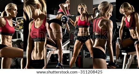 Bodybuilding execute exercise press weight gym stock photo