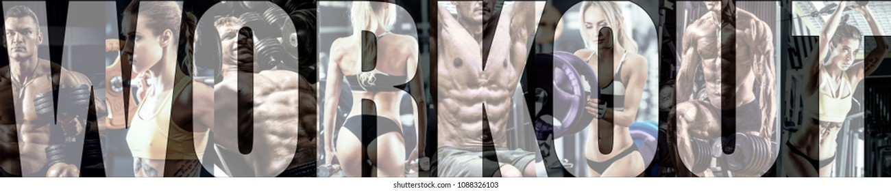 bodybuilding gym workout concept , horizontal panorama, collage of photo