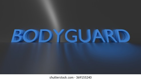 Bodyguard concept word - blue text on grey background.