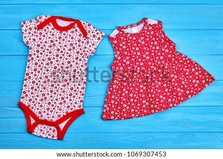 c2bbf54c461 Bodysuit and dress for baby girl. Set of trendy high quality clothes for  infant girl