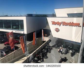 Boeblingen, Germany, June 28, 2019: Harley-Davidson dealership as part of the Motorworld in Boeblingen near Stuttgart, Germany. Harley-Davidson, Inc. is an American motorcycle manufacturer.