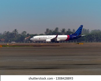 A Boeing 737 800 of Sriwijaya Air (reg PK CMH) ready for take off at Soekarno Hatta International Airport Jakarta, Indonesia. Taken on October 4th, 2016