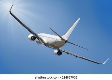 Boeing 737 jet aeroplane landing through  sky with clipping path