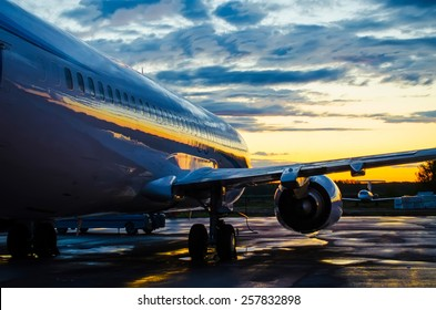 Boeing 737 Yamal air, airport Roschino, Russia Tyumen 06 June 2014 Plane at dawn in the shade before sunrise