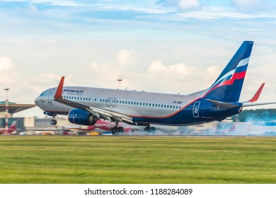 Boeing 737-800 Aeroflot airlines touch chassis with smoke, airport Pulkovo, Russia Saint-Petersburg. August 15. 2018