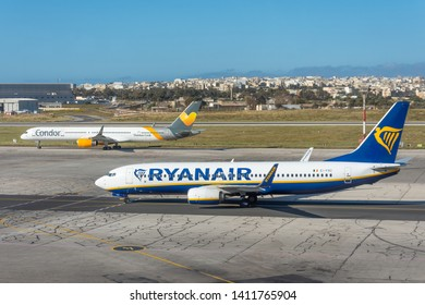 Boeing 737-800 Ryanair airlines and boeing 757 Condor Thomas cook, airport Luqa Malta, 28 April 2019