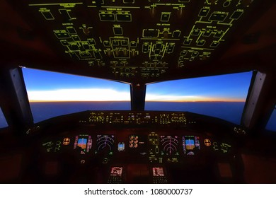 Boeing 777 Cockpit, Flying over Indian Sea on 14 April 2018 at 06:30 pm Departure: Bangkok  Destination: Delhi Pilots were performing their work during sunset over Indian airspace.