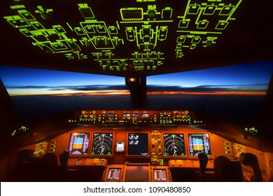 Boeing 777 Cockpit, Flying over over Pacific sea on 5 May 2018 at 06:00 am Departure: Bangkok Destination: Fukuoka Pilots were performing their work during sunrise over Japan airspace.