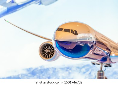 Boeing 777-X model exhibition on display. Russia, Moscow region Zhukovsky, airport Ramenskoe. Aviasalon MAKS 2019. 29 august 2019
