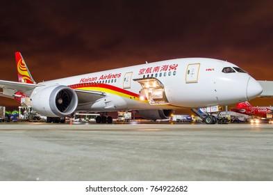 Boeing 787 Dreamliner Hainan airlines, airport Pulkovo, Russia Saint-Petersburg 22 November, 2017