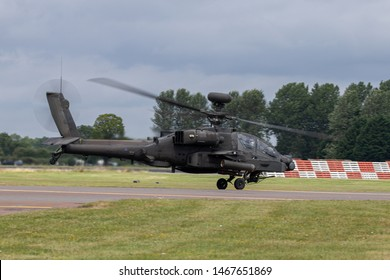Boeing AH-64D Apache Longbow taking off at the end of the RIAT at RAF Fairford. Taken on 21st July 2019.