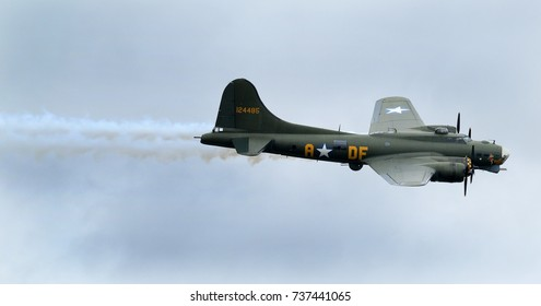 Boeing B17G Flying fortress, Sally B at Scampton air show, Lincolnshire, UK on 10 September, 2017.  This aircraft starred in the film, Memphis Belle as the title aircraft.