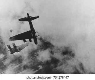 Boeing B-17G whose left wing fell off over Stendal, Germany, April 8, 1945. Named 'Wee Willie' by its crew, it was hit by anti-aircraft fire at 20,000, was burning and entered into a vertical dive, wh
