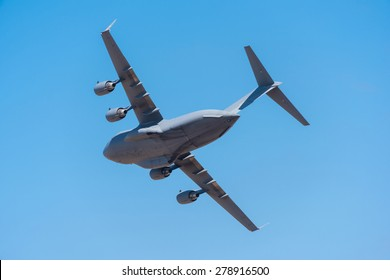 Boeing C-17 Globemaster 3 military transport aircraft flying