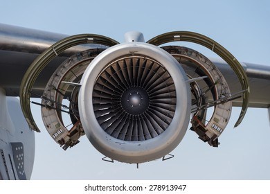 Boeing C17 jet engine with covers open
