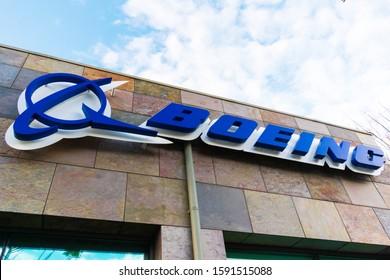 Boeing logo at Boeing HorizonX, Boeing NeXt, Aurora Flight Sciences office building in Silicon Valley - Menlo Park, California, USA - 2019