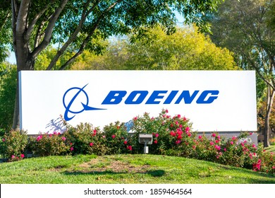 Boeing logo, sign on signpost at company office. The Boeing Company is an American multinational aerospace corporation - Pleasanton, California, USA - 2020