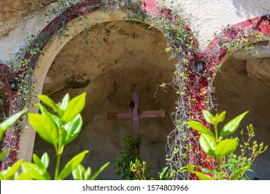 Boeotia, Greece - 26 April, 2019: Big wooden cross inside the Orthodox monastery Moni Agiou Ioanni Theologou, Greece. In the village of Vagia is the post-Byzantine monastery of Saint John Theologos.