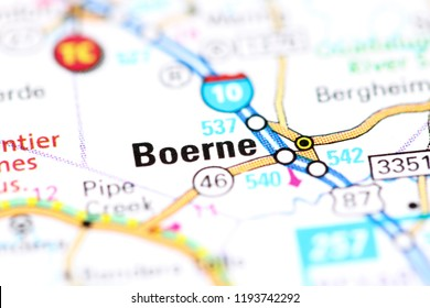Boerne. Texas. USA on a map