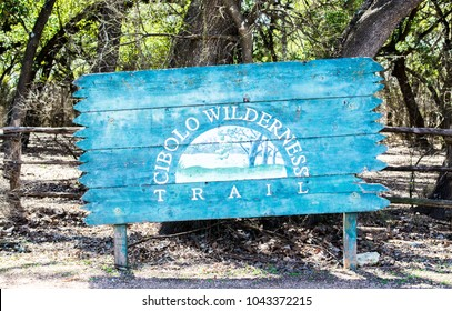 Boerne, Texas/USA 2-26-2018: Weathered wooden entrance sign to the Boerne Wilderness Trail