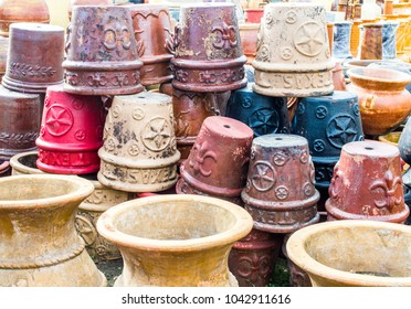 Boerne, Texas/USA-2-26-2018: rows of colorful ceramic landscaping pottery