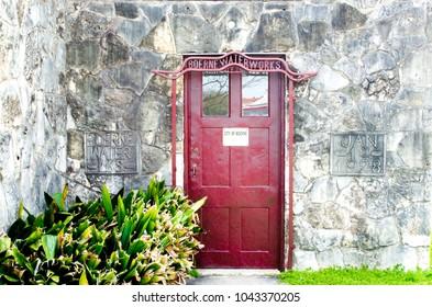 Boerne, Texas/USA-2-26-2018: Vintage door and entrance to historic Boerne Waterworks building