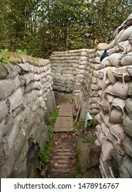 Boezinge, Belgium, 09/10/2017.Yorkshire Trenches, the preserved trenches, once ;ost and rediscovered and kept as a memorial. Trench seen from inside.