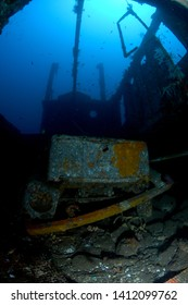 Boga shipwreck. The artificial reef. Underwater treasure. Diving, divers, wide angle underwater photography.