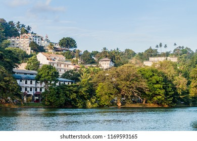 Bogambara lake and houses of Kandy, Sri Lanka