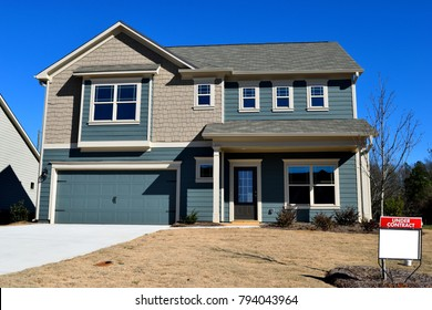 BOGART, GEORGIA, USA - JANUARY 13, 2018: Home construction is booming at local counties in Georgia. Shown is new home construction on January 13, 2018 at Bogart, Georgia.