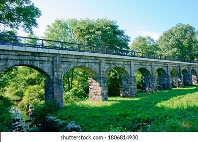 Bogastow viaduct, a historical rail bridge of boston & Worcester line over bogastow brook, is now a part of bike trail of Holliston MA USA