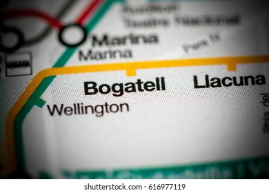 Bogatell Station. Barcelona Metro map.